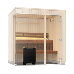 Tylo Evolve Plus GC E1717 Right Aspen Sauna Cabin with Aspen Fittings